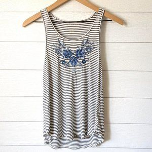 American Eagle Striped Embroidered Tank Top S